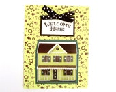handmade Welcome Home Dollhouse Card in lemon yellow and black