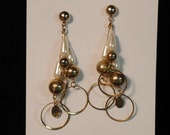 Vintage gold disco dangle earrings