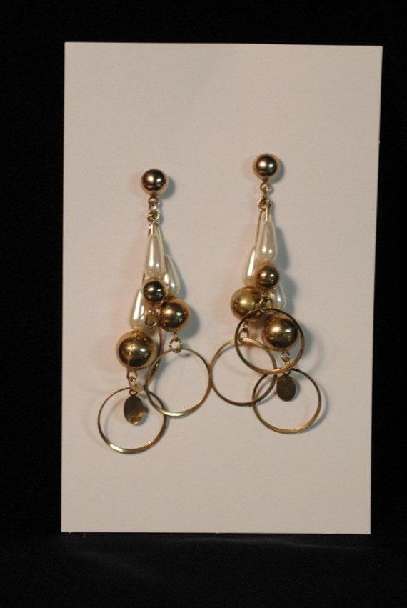 Vintage gold disco dangle earrings