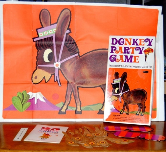 Vintage Pin-the-tail-on-the-Donkey Childrens Game