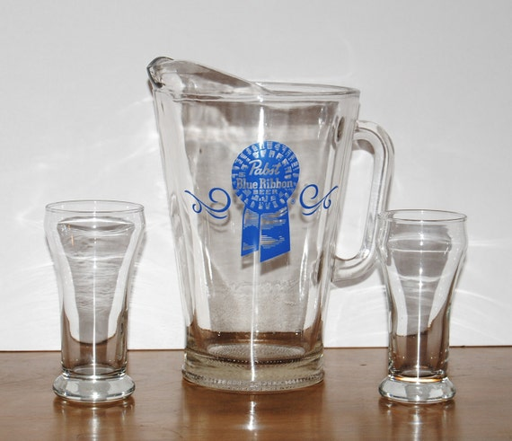 vintage Pabst Beer Pitcher and glasses