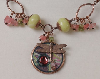 Paige's Paisley necklace: lime green and pink, resin pendant with crystal and Vintaj dragonfly