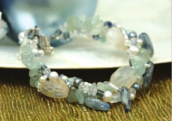 Aqua on Ice bracelet: wire wrapped aquamarine, blue kyanite, chalcedony, crystal & pearl