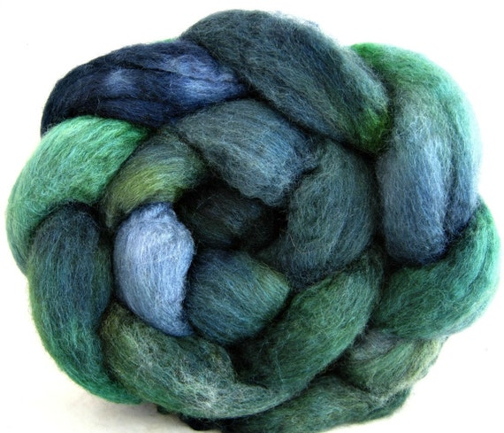 hand painted roving, bfl silk roving, spinning fiber: combed top