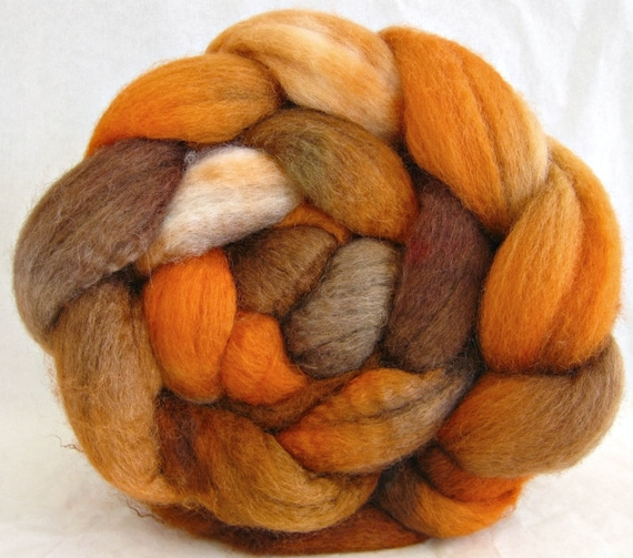 wool roving hand painted, bfl silk fiber, spinning fiber: combed top, felting supplies