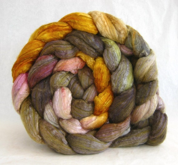 wool roving, merino silk, combed top: spinning fiber, hand painted roving