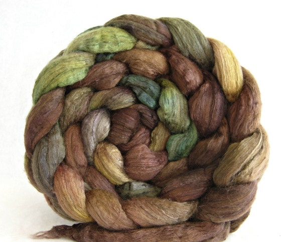 wool roving, merino silk , combed top: spinning fiber, hand painted spinning supplies