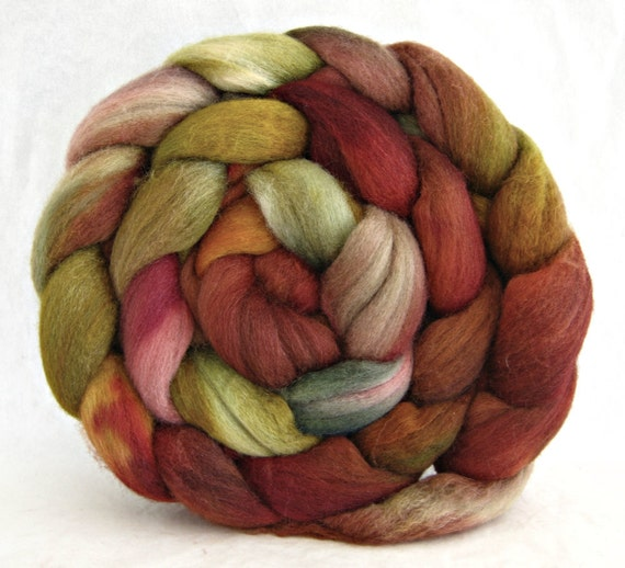 combed top, polworth silk roving, spinning supplies, hand painted roving