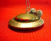 Alien UFO Racing Flying Saucer with Fins Wood and Domed Christmas Tree Ornament