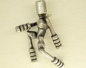 Running Man Robot Pendant Silver Ornament Science Fiction Wood Dangle