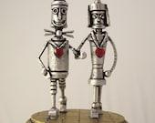 Tin Man Oz with Bride Woodsman Robot Wizard of Oz Wood Wedding Cake Topper Yellow Brick Road