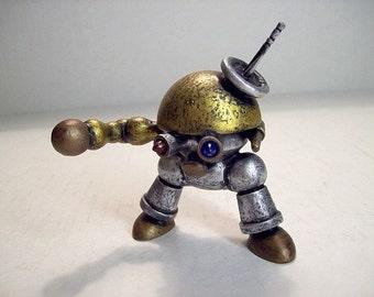 Cute Robot Statue Stumpy Scifi Retro Robot Wood Sculpture
