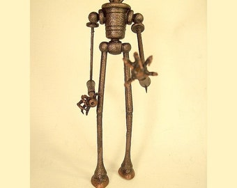 Human Walker Biped Steampunk Vehicle and Machine All Wood Replica Statue