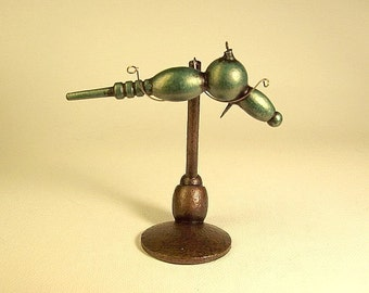 Shamrock Metallic Green Pulse Striker Retro Ray Gun Wood Pendant Ornament Science Fiction Dangle