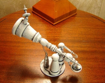 Moving Omni Galactic Telescope with Base Detailed Retro Robot Wood Statue