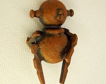 Rusty The Butt Scratching Robot Wood Pendant Ornament Dangle