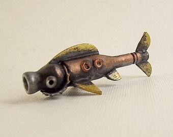 Robot Rainbow Trout the Tech Fish Wood Pendant Ornament Science Fiction Dangle