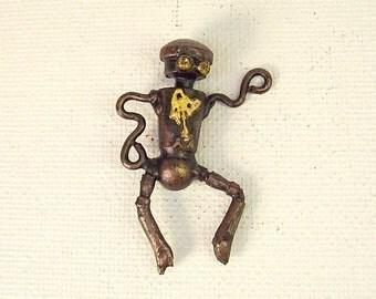 Boogie Dancing Little Robot Wood Pendant Ornament Science Fiction Dangle