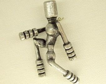 Running Man Robot Pendant Silver Ornament Science Fiction Wood Dangle