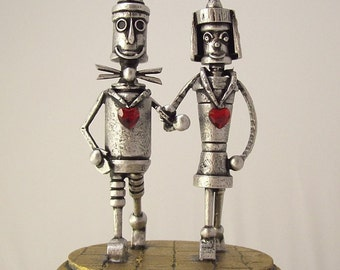 Tin Man Oz with Bride Woodsman Robot Wizard of Oz Wood Wedding Cake Topper Yellow Brick Road