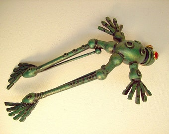Lifesize Jumping Green Robot Frog Wood Figure in midair with Base
