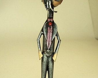 Goth Dude Gothic Guy in Ascot Wood Sculpture Figure