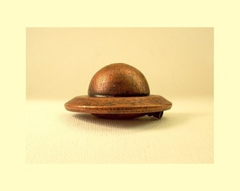 All COPPER Metallic All Wood Retro Alien UFO Flying Saucer Pendant Ornament Science Fiction Dangle