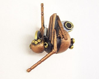 Melanie the Robot Spider Wood Pendant Ornament Science Fiction Dangle