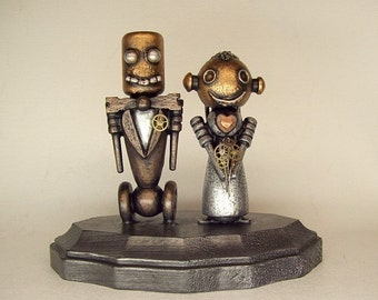 Robot Wedding Cake Topper Classic Bride and Groom Wood Statues