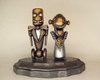 Wedding Cake Topper Bride Groom Figurine Handmade Wedding Topper Unique Cake Top Robot Wood Sculpture