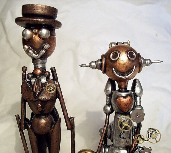 Western Robot  Wedding Cake Topper Old Time Bride Bustle Groom Wood