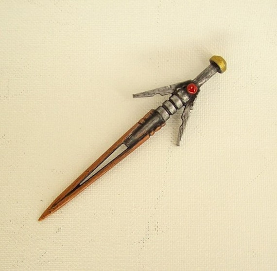 Laser Sword Wood Pendant Ornament Dangle Science Fiction Necklace or Pin