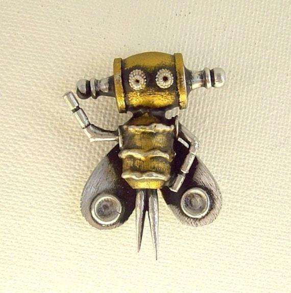 Buzzbee the Robot Bee Mark II Wood Pendant Ornament Dangle