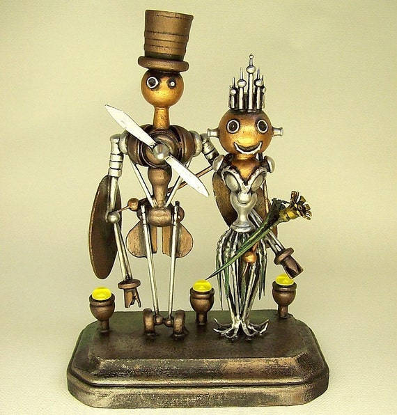 Sky Captain Airplane Robot and Sexy Bride Bot Queen with Crown Wedding Cake Topper Wood Statues with Runway Base