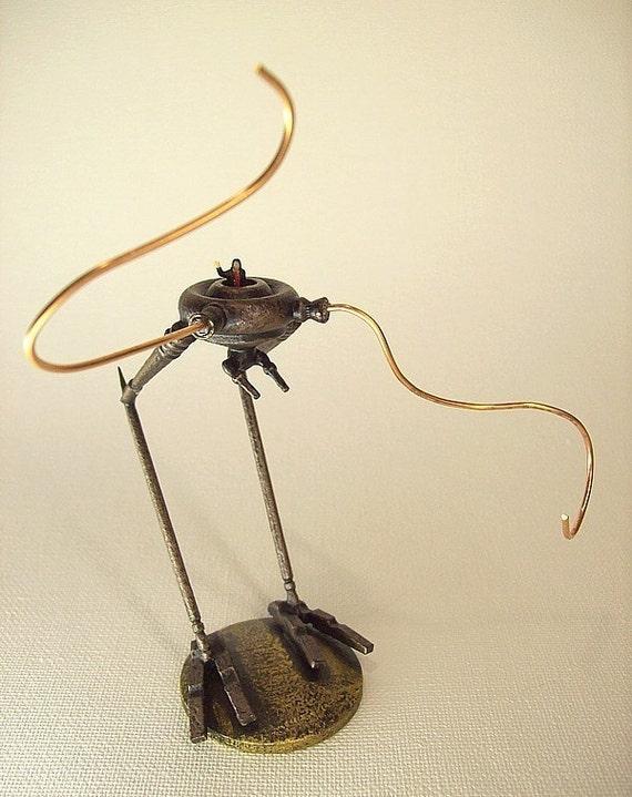 Steampunk Bipedal Chicken Walker War Machine with Pilot Victorian Wood Miniature on Base