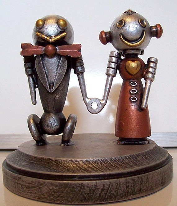 Robot Bride and Groom Wedding Cake Topper Classic V2 with Red