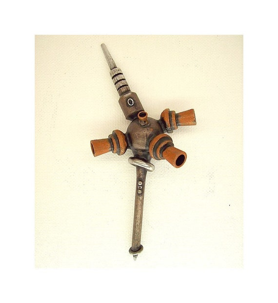 Rust Blossom COOL Steampunk WEDDING Buttonhole Boutonniere Corsage Wood Pin