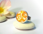 Japanese Chiyogami Yellow Cherry Blossoms Image Vintage Ring Resin and Glass, Adjustable Handmade Exclusive Design - Silver Plated image