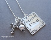Hand Stamped Square Scrolled Necklace with bible verse