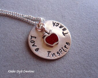 Hand Stamped Love,Teach,Inspire necklace