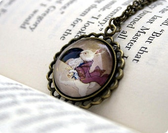 The White Rabbit, Pendant / Necklace, 18 Inch Chain, Antique Gold Brass, Illustration, Wearable Art