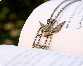 Flight Necklace, Antique Brass, 18 Inch Chain