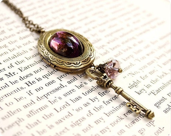 Spellbound, Antique Brass Amethyst Locket