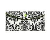 Black and Green Damask  Long Wallet, Clutch, bill size
