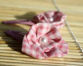Cute Pink Gingham Flower Hair Clips with Glass Beads