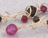 Berries and Dark Chocolate Crystal Random Spiral Dangle Earrings with 14k Gold-Filled findings