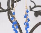 Bright Blue Opal Glass 14k Gold Filled Earrings-Rain Drops