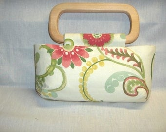 Susie handbag with wooden handles, pink and green