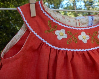 hand embroidered dress from vintage pattern daisy orange