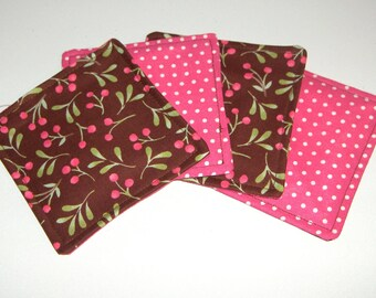 CHERRY WHIMSY set of 4 fabric coasters